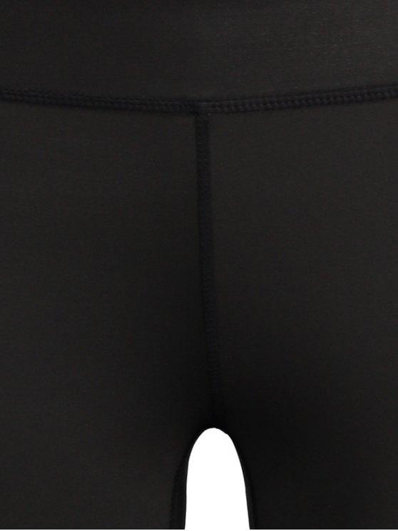 Mesh Panel Active Running Leggings - WHITE AND BLACK S Mobile