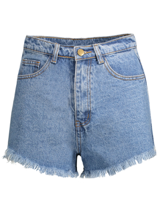 Fringe High Waist Denim Shorts - LIGHT BLUE 25 Mobile