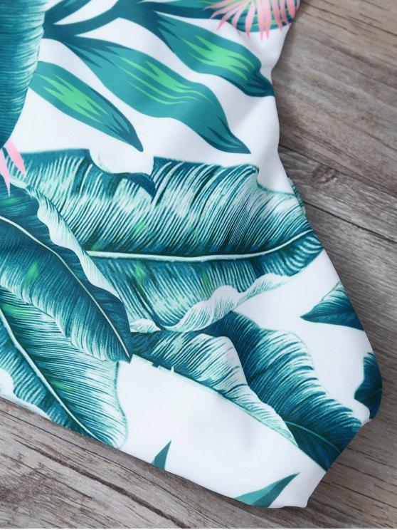 Lace-Up Tropical Print Bikini Set - GREEN XL Mobile