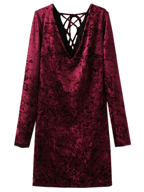 outfits Lace Up Long Sleeve Velvet Dress - WINE RED L