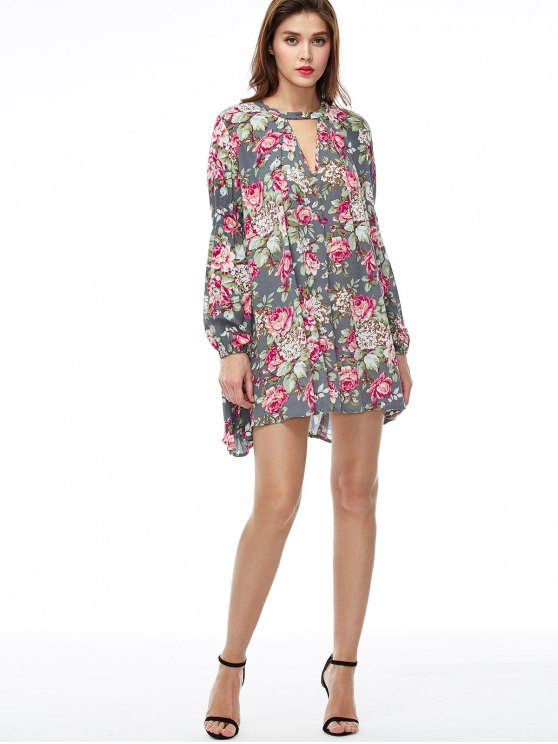 Keyhole Floral Print Swing Dress - FLORAL S Mobile