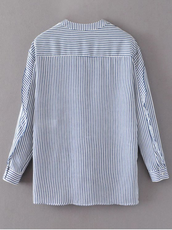Tie Neck High Low Tassel Striped Blouse - STRIPE S Mobile