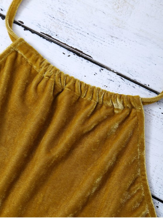 Halter Velvet Crop Top - GOLD BROWN XL Mobile