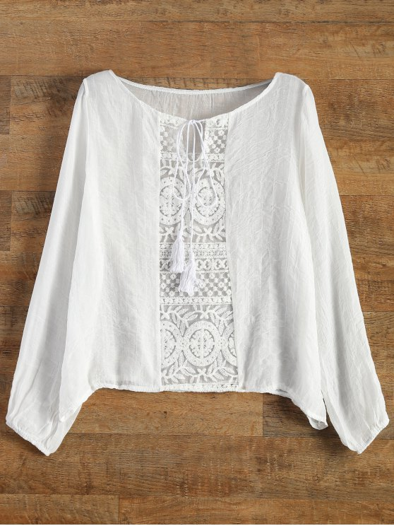online Lace Panel Tied Tassel Sheer Top - WHITE S