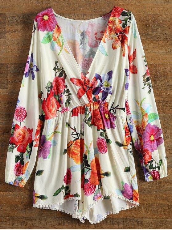 shop Plunge Floral Print Romper - BEIGE XL