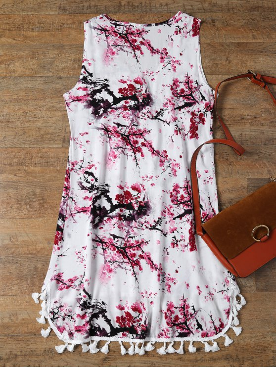 Low Cut Laciness High Low Dress - WHITE XL Mobile
