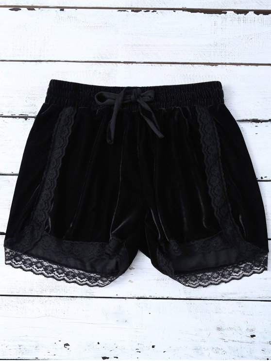 Elastic Lace Trim Velvet Shorts - BLACK L Mobile