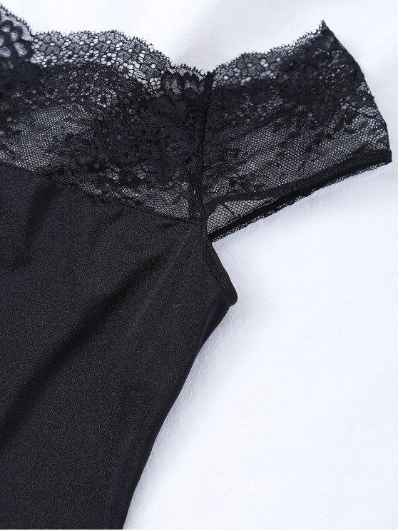 Off The Shoulder Lace Panel Bodysuit - BLACK M Mobile