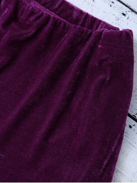 Lace Up Side Velvet Shorts - PURPLISH RED S Mobile