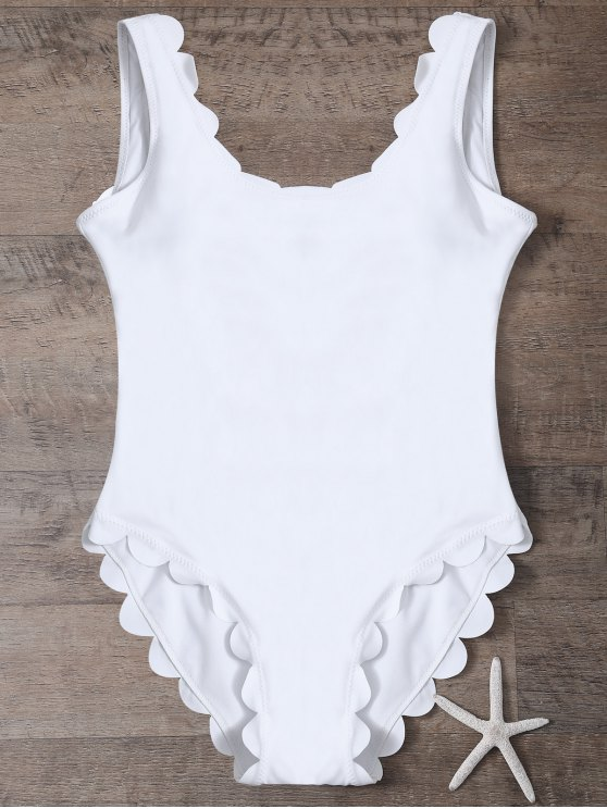 Scalloped U Neck One-Piece Swimwear - WHITE S Mobile