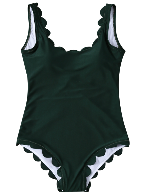 Scalloped U Neck One-Piece Swimwear - DEEP GREEN XL Mobile