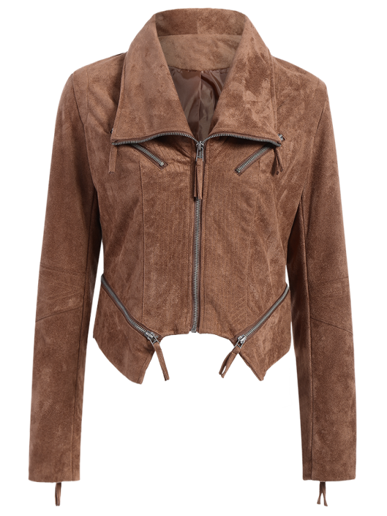 buy Faux Suede Asymmetric Bomber Jacket - BROWN M