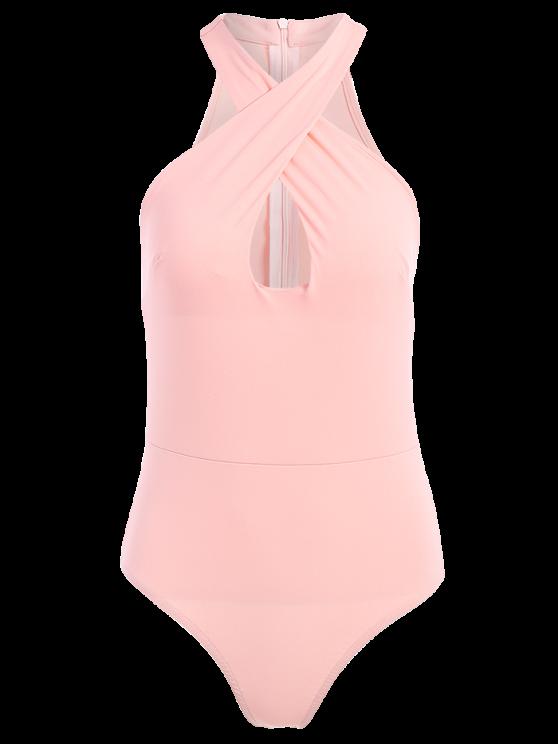 Sleeveless Cross Keyhole Bodysuit - PINK S Mobile
