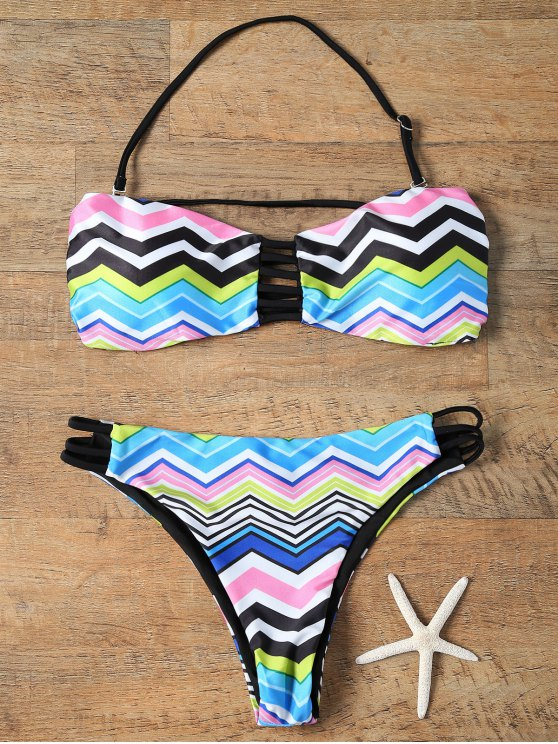 fashion Chevron Stripe Strapless Bikini Set - COLORMIX M