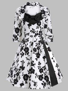 فستان كلاسيكي طباعة سوينغ - أبيض وأسود Xl