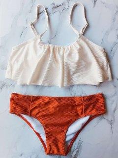 Color Block Covered Bikini Set - Orange S