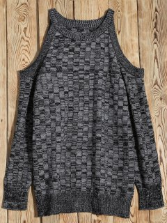 Marled Basket Weave Cold Shoulder Jumper - Gris S