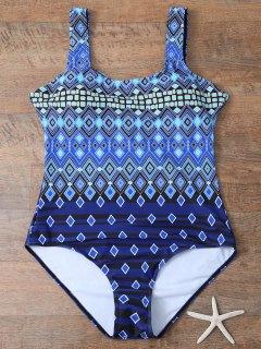 Criss-Cross Tribal Print Plus Size Swimwear - Blue 3xl