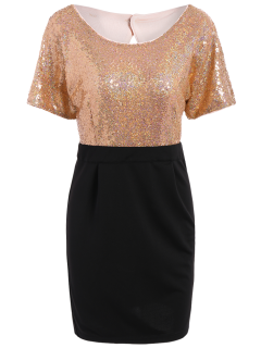 Sequined Two Tone Sheath Dress - Black And Pink Xl