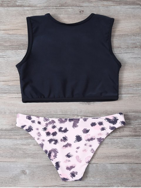 latest Letter Top with Printed Briefs Bralette Bikini - BLACK AND PINK M Mobile