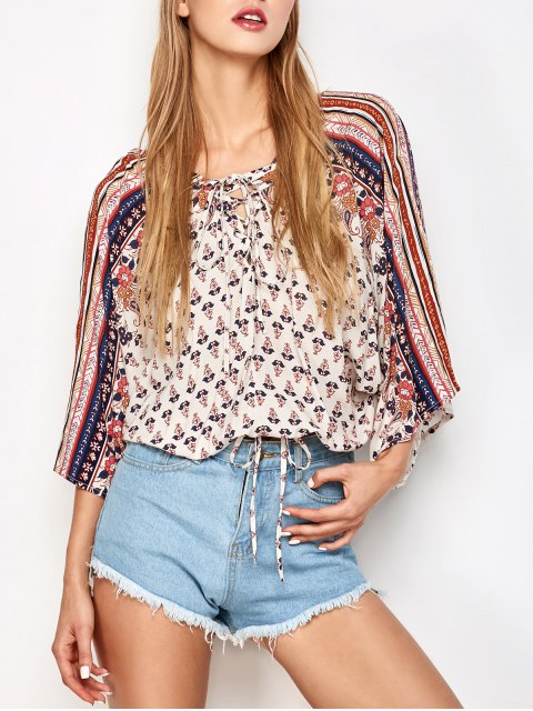 chic Lace Up Dolman Sleeve Blouson Top - OFF-WHITE M Mobile