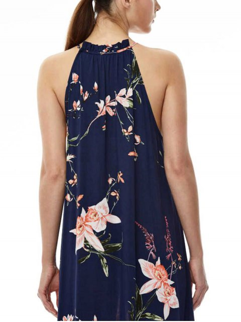 buy Maxi Floral Beach Dress - PURPLISH BLUE L Mobile