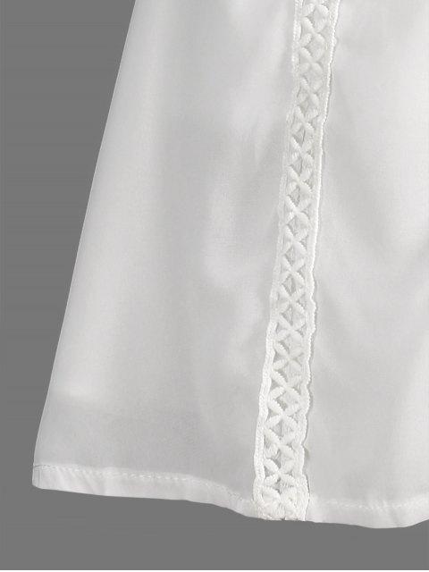 fancy Spliced Openwork White Chiffon Dress - WHITE XL Mobile