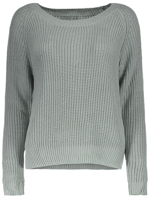 affordable Boat Neck Loose Sweater - GRAY ONE SIZE Mobile