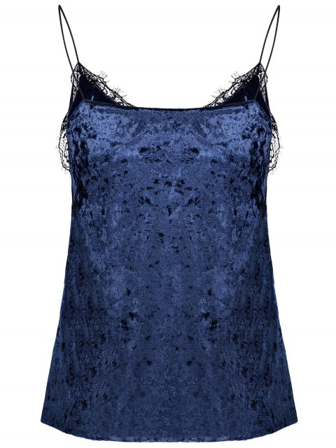 women Cami Lace Spliced Tank Top - BLUE ONE SIZE Mobile