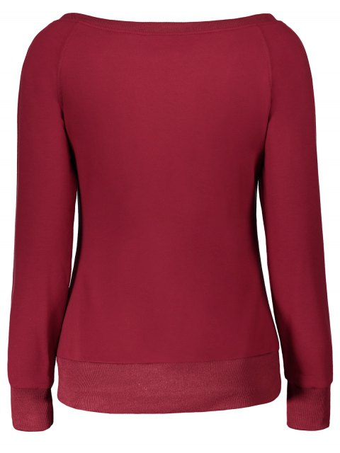 women's Pullover One Shoulder Sweatshirt - BURGUNDY L Mobile