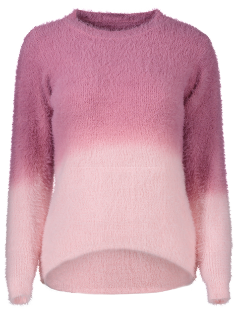 outfit Ombre High-Low Sweater - ROSE RED ONE SIZE Mobile