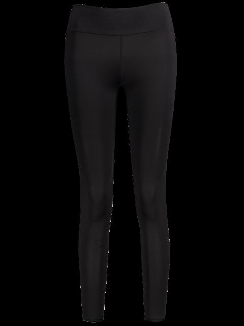 hot Elastic Waist Running Leggings - BLACK ONE SIZE Mobile