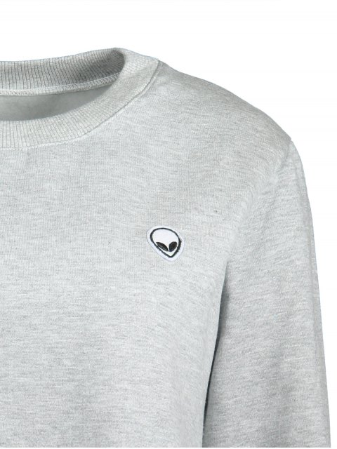 lady Alien Embroidered Cropped Sweatshirt - LIGHT GRAY ONE SIZE(FIT SIZE XS TO M) Mobile