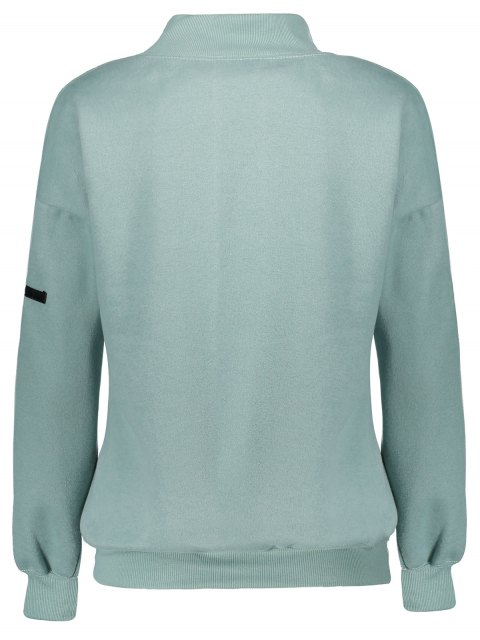sale Patch Turtle Neck Sweatshirt - LIGHT GREEN ONE SIZE Mobile