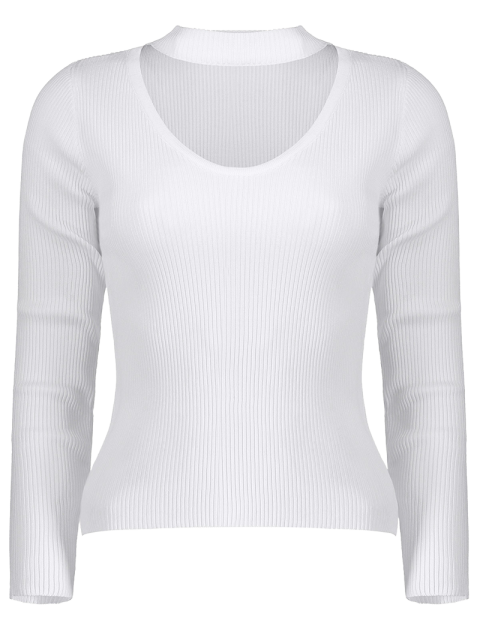 latest Ribbed Cut Out Choker Jumper - WHITE L Mobile