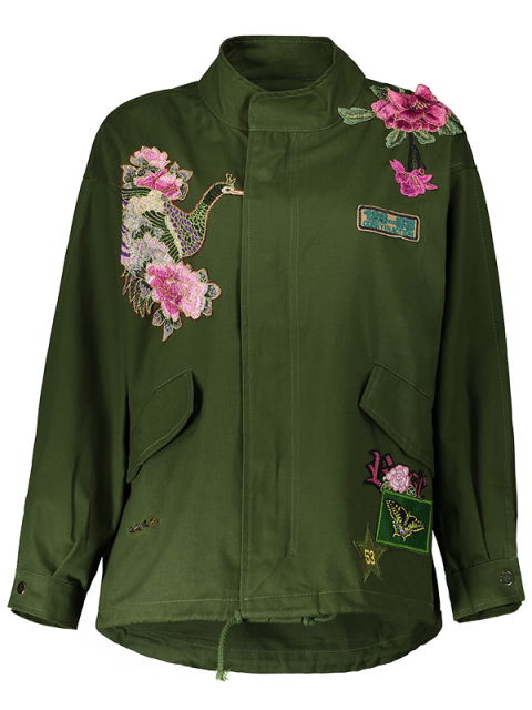 affordable Floral Embroidered Utility Jacket - ARMY GREEN S Mobile