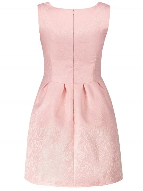 outfit Sleeveless Jacquard Mini Dress - PINK L Mobile
