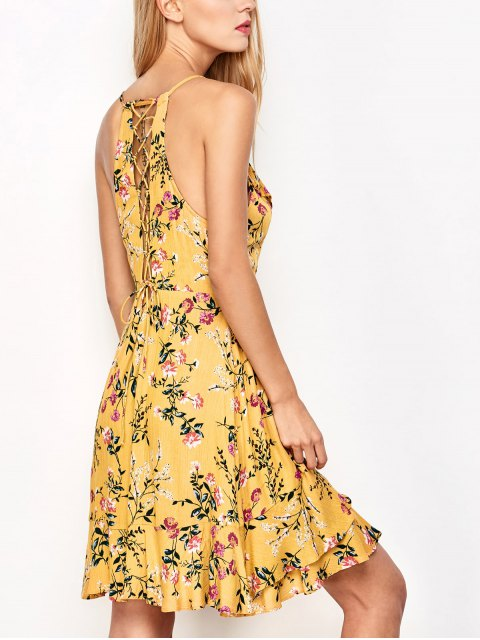 hot Crossover Floral Print Cami Dress - YELLOW L Mobile