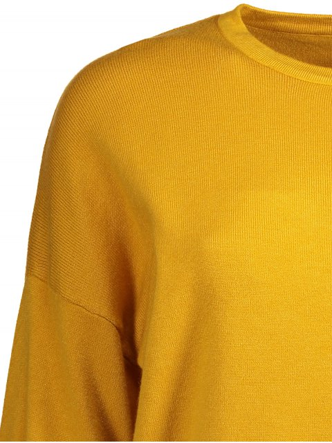 fashion Lantern Sleeve Lace Spliced Sweater - YELLOW ONE SIZE Mobile