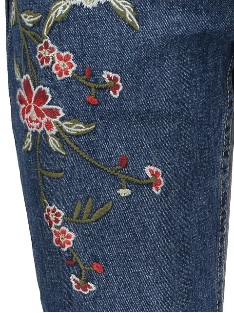 hot Floral Embroidered Relaxed Fit Jeans - BLUE L Mobile