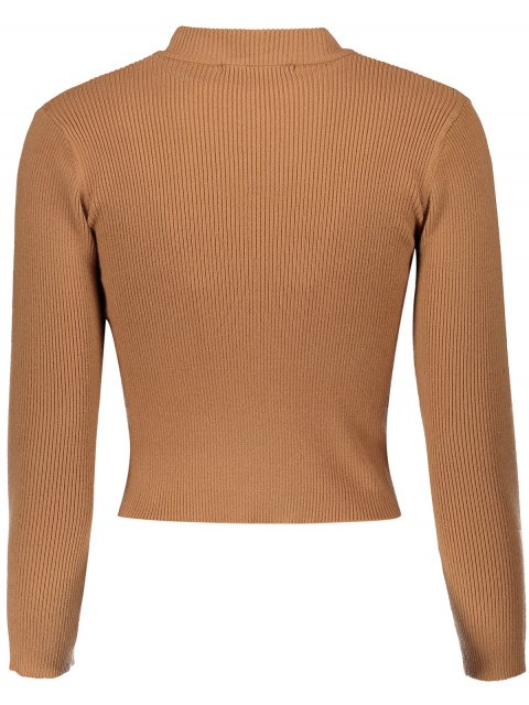 fashion Mock Neck Cropped Pullover Sweater - EARTHY ONE SIZE Mobile