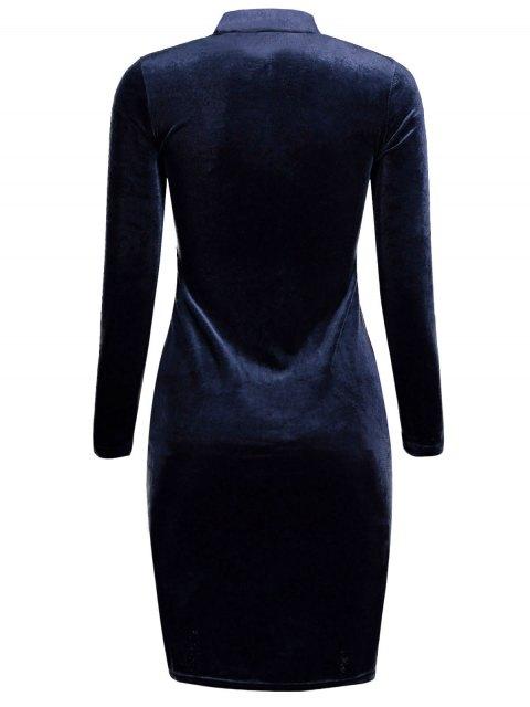 fancy Velvet Stand Neck Long Sleeve Dress - PURPLISH BLUE ONE SIZE Mobile