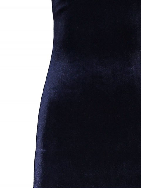 best Side Furcal Velour Slip Dress - CADETBLUE ONE SIZE Mobile