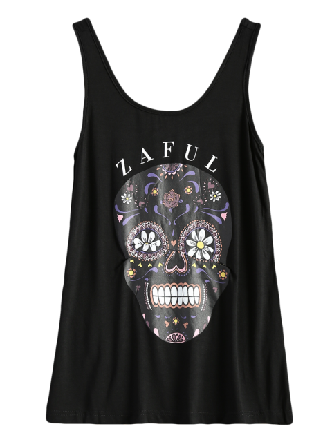 women Skull Print Logo Tank Top - BLACK S Mobile