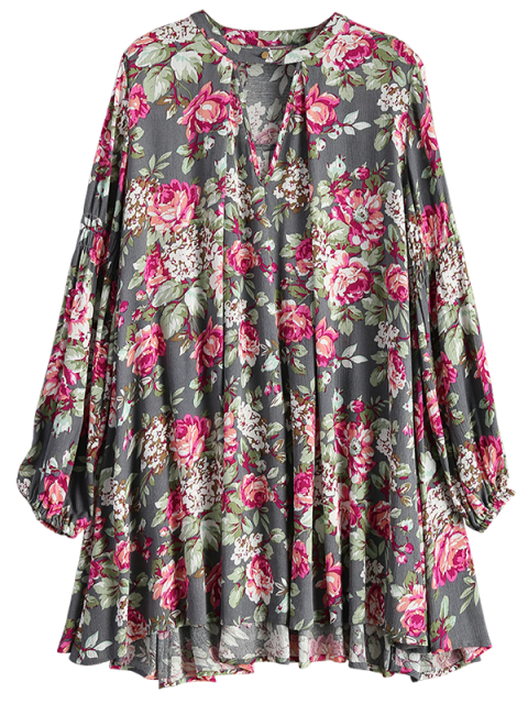 trendy Keyhole Floral Print Swing Dress - FLORAL S Mobile