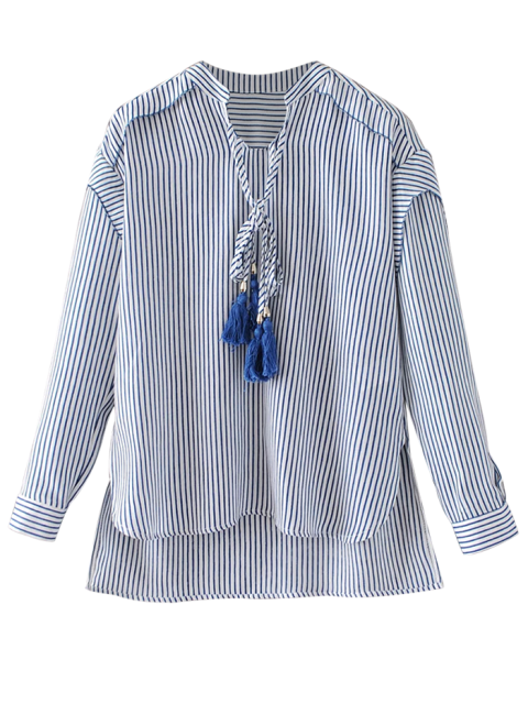 chic Tie Neck High Low Tassel Striped Blouse - STRIPE S Mobile