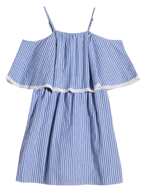 women Stripe Cold Shoulder Casual Dress - BLUE XL Mobile