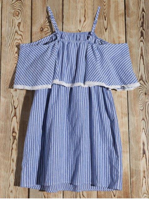 ladies Stripe Cold Shoulder Casual Dress - BLUE M Mobile