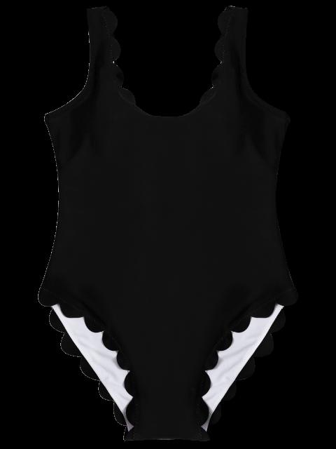 unique Scalloped U Neck One-Piece Swimwear - BLACK M Mobile
