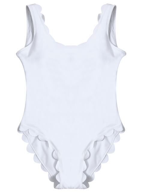 women Scalloped U Neck One-Piece Swimwear - WHITE S Mobile
